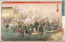 Plum Orchard at Kameido (Kameido umeyashiki no zu), from a series Famous Places in the Eastern Capital (Toto meisho)