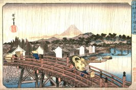 Light Rain on Nihon Bridge (Nihombashi no hakuu), from a series Famous Places in the Eastern Capital (Toto meisho)