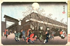 Cherry Blossoms at Night at Nakanochō in the Yoshiwara (Yoshiwara Nakanochō yozakura), from the series Famous Places in the Eastern Capital (Tōto meisho)