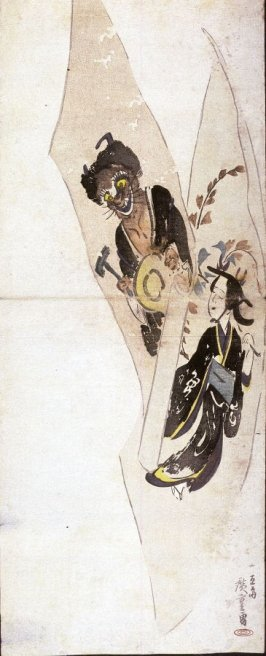 Otsu Paintings of Praying Devil and Wisteria Maiden