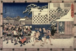 Taking the Head, Act 11, Scene 4 (Youchi yon hikitori) from the play Storehouse of Loyalty (Chushingura)