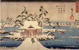 Snow at the Benten Shrine at Inokashira Pond (Inokashira no ike benzaiten no yashiro yuki no kei), from a series Snow, Moon, and Flowers at Famous Places (Meisho setsugekka)