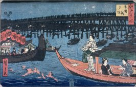Enjoying the Cool of the Evening at Ryogoku Bridge (Ryogokubashi yusuzumi), from a series Famous Places in Edo (Edo meisho)