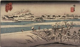 Snow on the Sumida River (Sumidagawa yuki no kei), from a series of Famous Places in Edo (Edo meisho)
