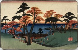 [Viewing Autumn Leaves on Hills Above Edo Bay], from a series Famous Places in the Eastern Capital (Toto meisho)