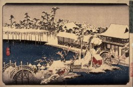 Snow in the Precincts of the Temman Shrine at Kameido (Kameido temmangu kedai yuki), from a series Famous Places in the Eastern Capital (Toto meisho)