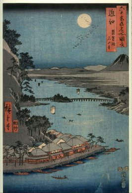 Lake Biwa and Ishiyama Temple in Omi Province (Omi biwako ishiyamadera), from the series Pictures of Famous Places in the Sixty-odd Provinces (Rokujuoshu meisho zue)
