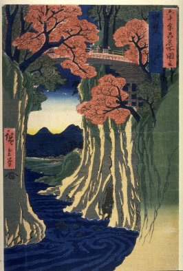 The Monkey Bridge in Kai Province (Kai saruhashi), from the series Pictures of Famous Places in the Sixty-odd Provinces (Rokujuoshu meisho zue)