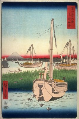 The Ocean near Tsukuda in Edo (Toto tsukuda oki, from the series Thirty-six Views of Mt. Fuji (Fuji sanjurokkei)