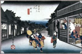 Women Accosting Travelers at Goyu (Goyu tabibito tomeonna), Station 36 from the series Fifty-Three Stations of the Tōkaidō (Tōkaidō gojūsantsugi no uchi)