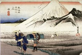 Mt. Fuji at Dawn near Hara (Hara asa no fuji), no. 14 from the series Fifty-three Stations of the Tokaido (Tokaido gojusantsugi no uchi)