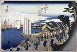 The Departure of the Noblemen at Shinagawa (Shinagawa shoko detachi), no. 2 from the series Fifty-three Stations of the Tokaido (Tokaido gojusantsugi no uchi)