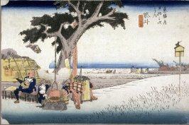 An Outdoor Tea Stall at Fukuroi (Fukuroi dejaya no zu), no. 28 from the series Fifty-three Stations of the Tokaido (Tokaido gosantsugi no uchi)