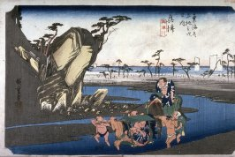 The Okitsu River near Okitsu (Okitsu okitsugawa), no. 18 from the series Fifty-three Stations of the Tokaido (Tokaido gosantsugi no uchi)