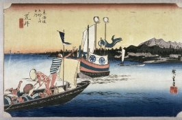 Ferry boats at Arai (Arai watashibune no zu), no. 32 from the series Fifty-three Stations of the Tokaido (Tokaido gosantsugi no uchi)