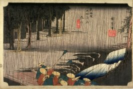 Spring Rain at Tsuchiyama (Tsuchiyama haru no ame), no. 50 from the series Fifty-three Stations of the Tokaido (Tokaido gosantsugi no uchi)Spring Rain at Tsuchiyama (Tsuchiyama haru no ame), no. 50 from the series Fifty-three Stations of the Tokaido (Toka