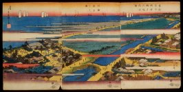View of Low Tide at Susaki and the Precincts of the Benzaiten Shrine (Susaki benzaiten kedai zenzu, do kaikin shiohi no zu), from the series Famous Places in the Eastern Capital (Toto meisho)