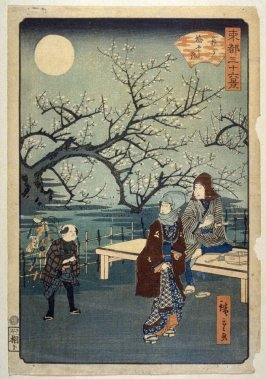 Moon at the Plum Orchard at Kameido - From: 36 Views of the Eastern Capitol