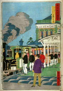 Steam Train at Shimbashi Station (Shimbashi sutenshon jokisha), from a series Pictures of Famous Places in Tokyo (Tokyo meisho zue)