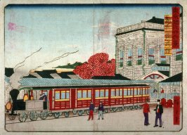 Train Station at Shimbashi (Shimbashi tetsudokan), from the series Thirty-six Views of Modern Tokyo (Tokyo kaika sanjurokkei)