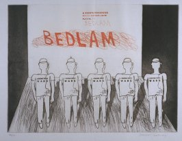 "Plate No. 8A, ""Bedlam,"" in the portfolio A Rake's Progress (London: Editions Alecto, The Print Centre, 1963)"