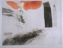 "Plate No. 1, ""The Arrival"", in the portfolio A Rake's Progress (London: Editions Alecto, The Print Centre, 1963)"
