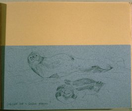 Crabeater Seals and Gentoo Penguin, seventeenth image from Travel Sketchbook of Antarctica