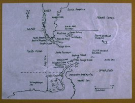 Map with southern part of South America and Antarctic peninsula, second image from Travel Sketchbook of Antarctica