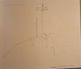 Discoverer Enters an IcePack, fifty-second image from Travel Sketchbook of Antarctica-