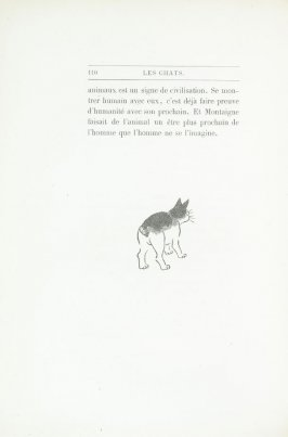 """Chat japonais, dessin de Hok' Sai,"" end device pg. 110, in the book Les Chats (Cats) by Champfleury (Paris: J. Rothschild, 1870)."