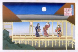 Court Scene in Moonlight; Illustration of poem by Akazome Emon - Pl. 2 of portfolio of 4 from the Hyaku Nin Shu (One Hundred Poems as explained by the Nurse)