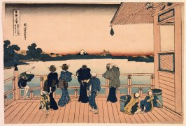 Fuji from the Sazai Hall at the Temple of the Five Hundred Rakan, from the series Thirty-Six Views of Mount Fuji
