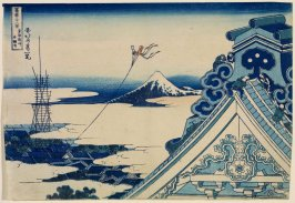 Fuji from the Hongan Temple at Asakusa in Edo, from the series Thirty-Six Views of Mount Fuji