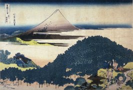 Fuji from the Cushion Pine Tree at Aoyama, from the series Thirty-Six Views of Mount Fuji