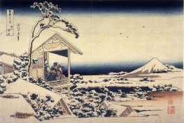 Fuji on a Snowy Morning from Koishikawa, from the series Thirty-Six Views of Mount Fuji