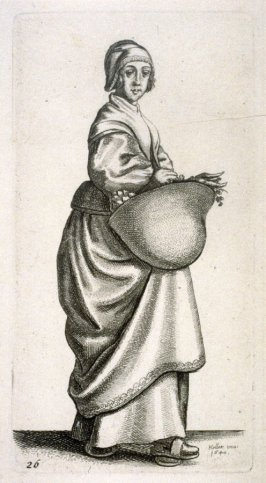 Kitchen maid carrying a basket