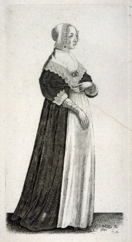 Lady with a small, lace trimmed cap and gloves