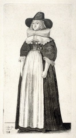 Lady with wide-brimmed hat and a ruff, arms at her sides