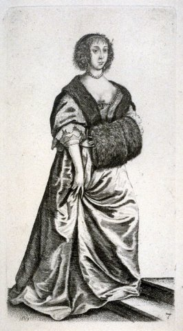 Lady with Muff standing on steps