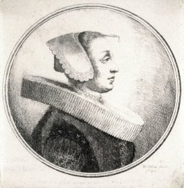 Woman with circular ruff. bonnet and hari-pin, in profile to right