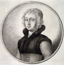 Woman wearing short fur-trimmed waistcoast with high collar