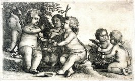 Christ, St. John the Baptist, and four Cherubs