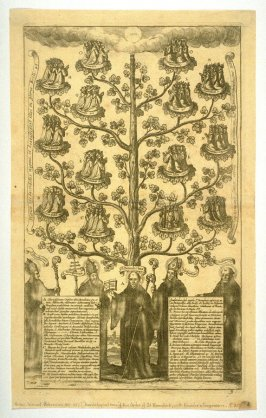 Tree of Descendence of the Order of St. Benedict, with Figures of the Founder and His Companions.