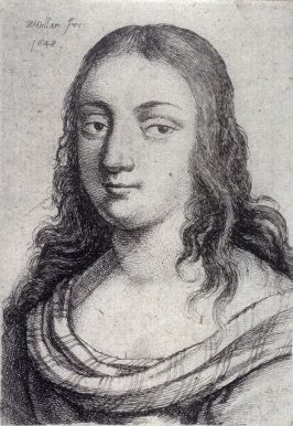 Woman with striped shoulder wrap and long dark hair