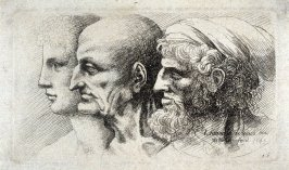 Row of three heads in profile to left
