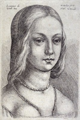 Head of a Woman with Parted Hair and Necklace
