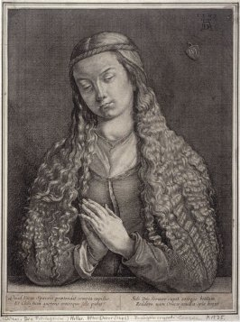 Portrait of a woman with Long Hair , Her Hands Together in Prayer