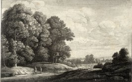 Landscape with two men walking at woods' edge