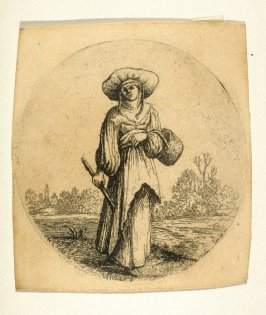 Woman standing with a basket on her arm