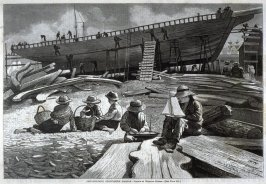 Ship Building, Gloucester, from Harper's Weekly